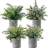 Set mit 4 Künstlichen Grünen Gras Pflanzen, Künstliche Rosmarin Pflanze, Kunstblumen Lavendel,...
