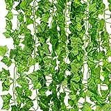 KASZOO® Efeu Künstlich Girlande, 12 Stück Grün Efeu mit Nylon Kabelbinder Pflanzen Efeuranke...